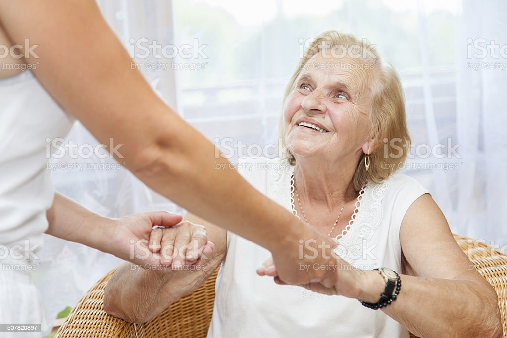 Providing care for elderly stock photo