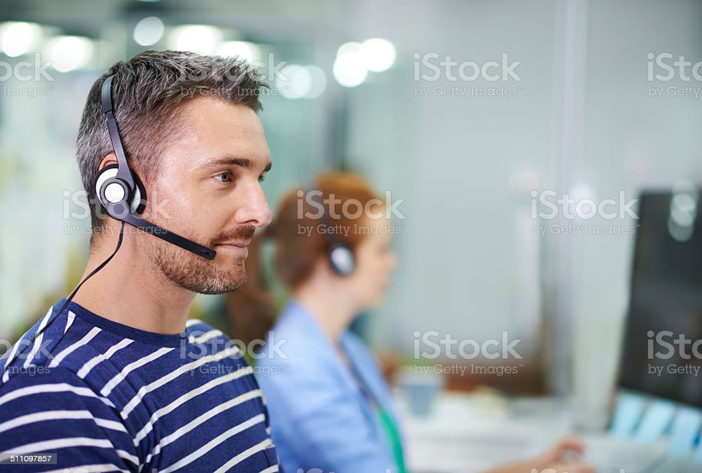 Providing professional customer support stock photo