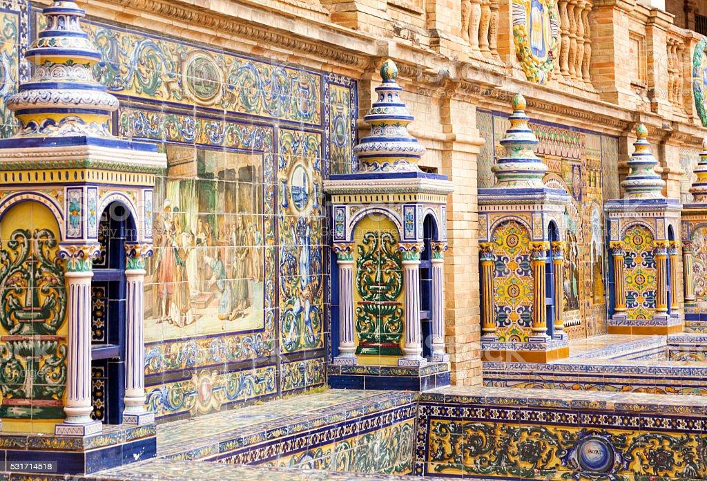 Province alcoves detail, Plaza de Espana, Seville, Spain stock photo