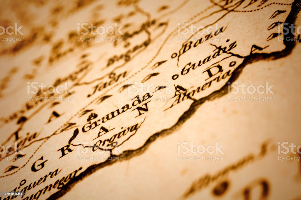 Province of Granada on an Antique map stock photo