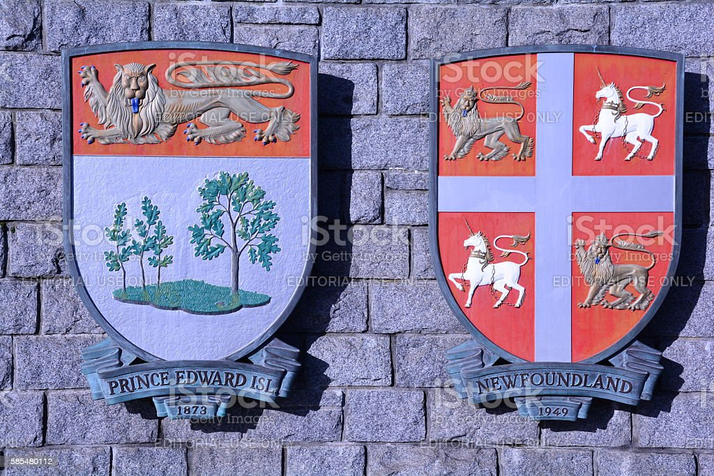 Provincial  Canadian coats of arms. stock photo
