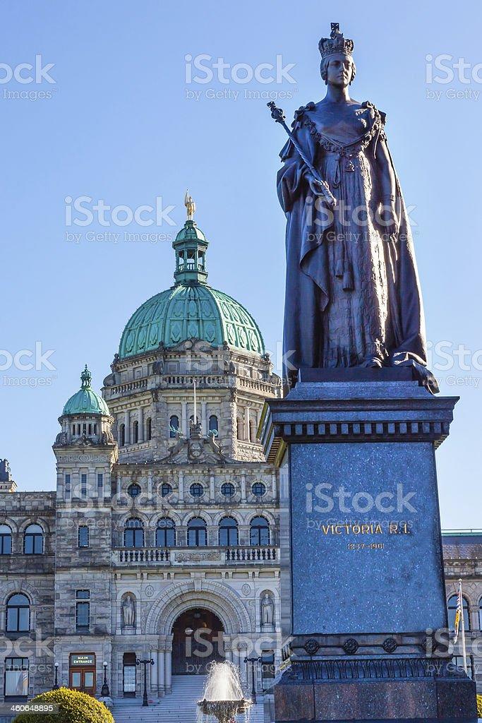 Provincial Capital Legislative Buildiing Queen Statue Victoria British Columbia Canada stock photo