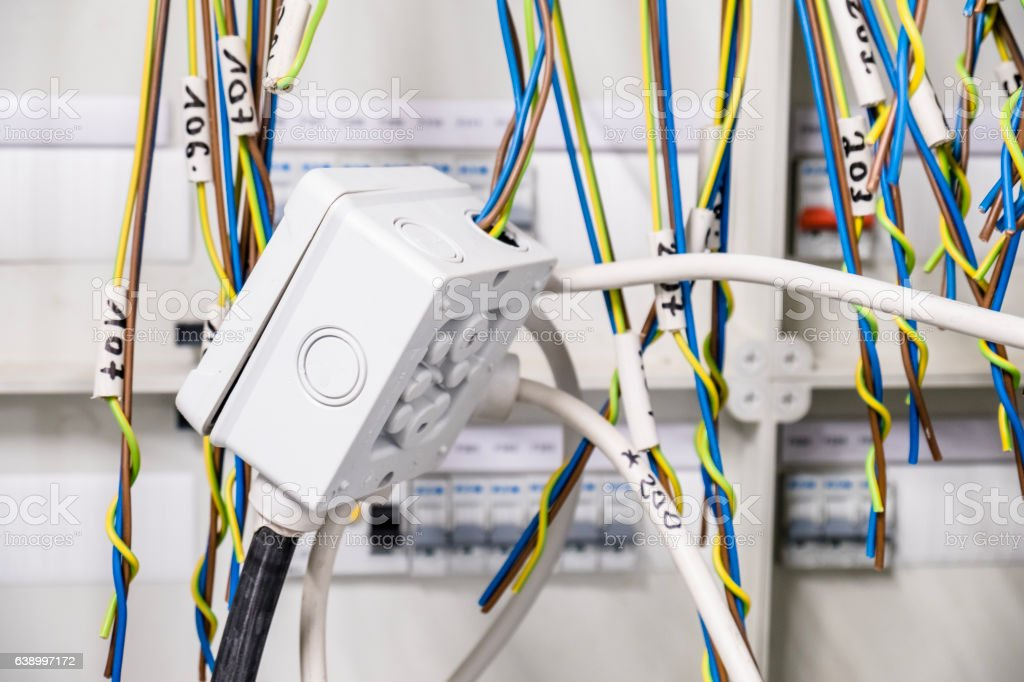 Provisional electrical arrangement in panel stock photo