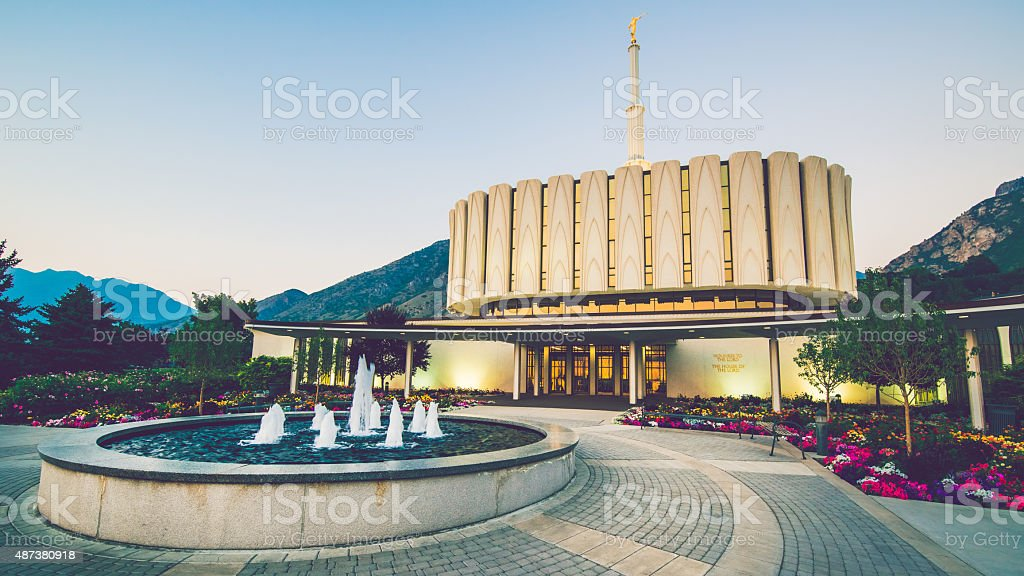 Provo Temple and Fountain stock photo
