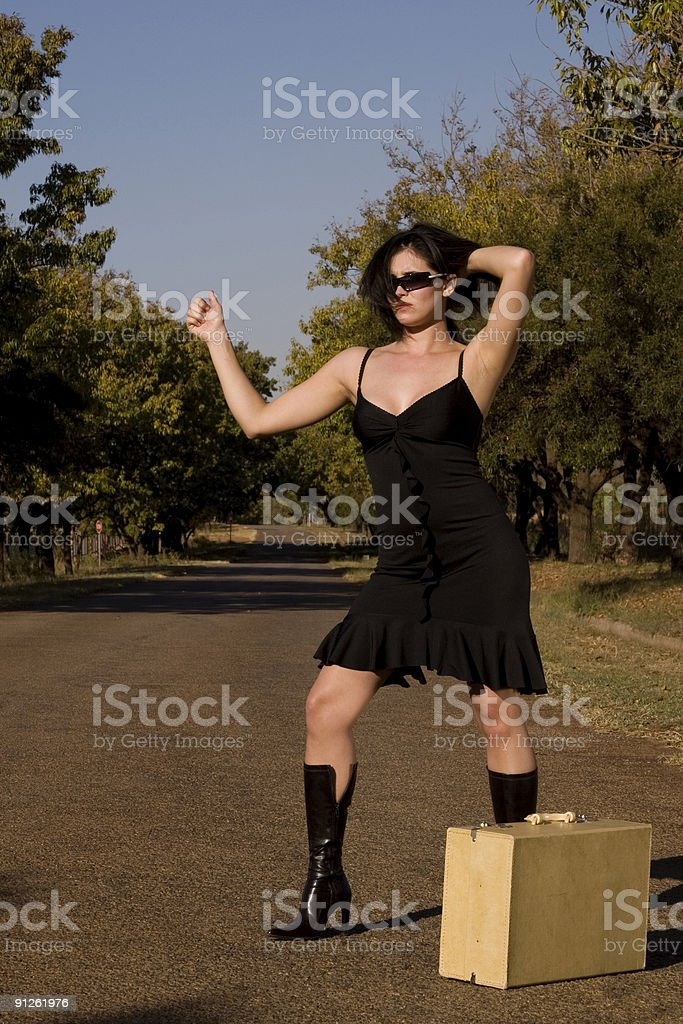 Provocative brunette thumb royalty-free stock photo