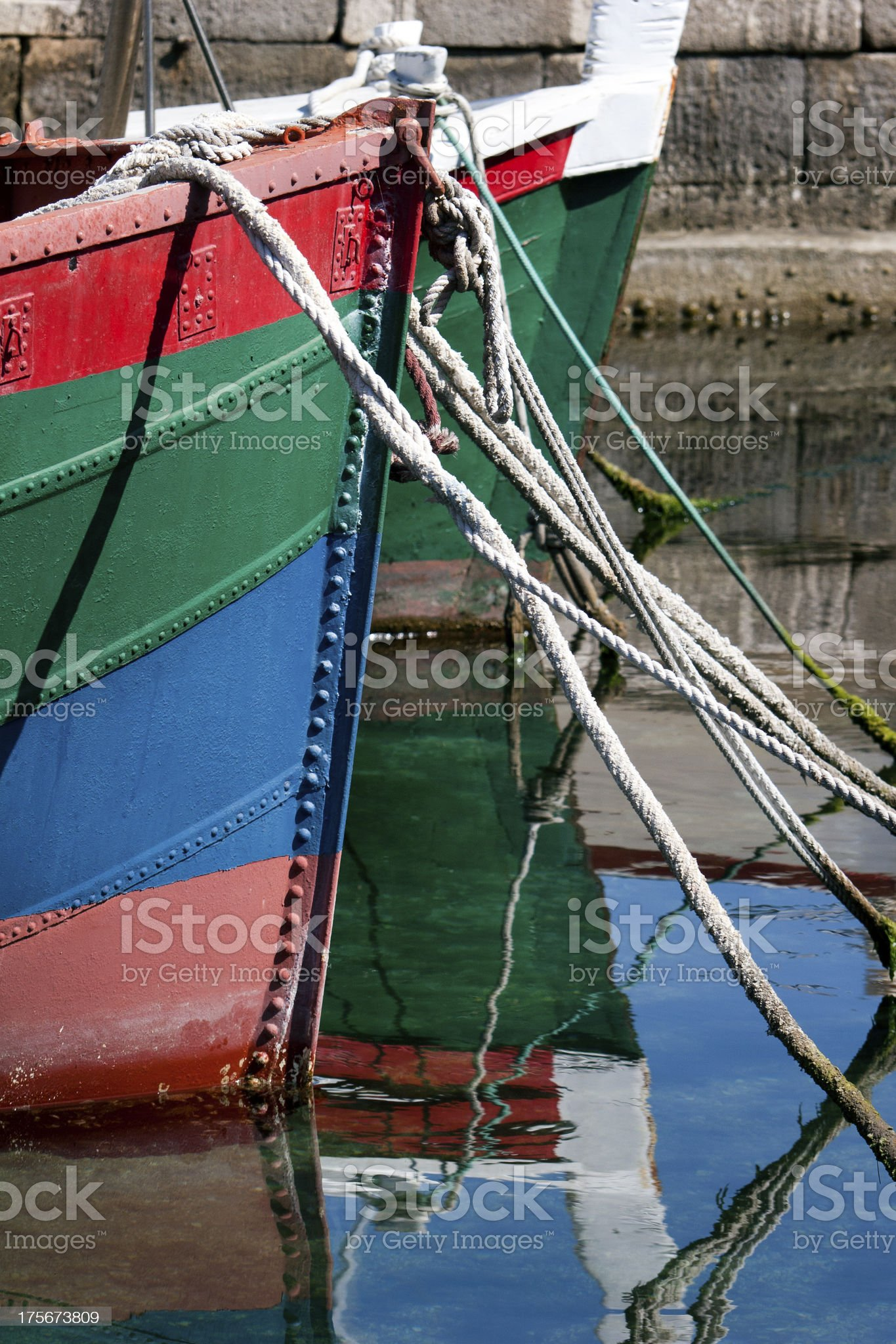 Prow of colored boats royalty-free stock photo