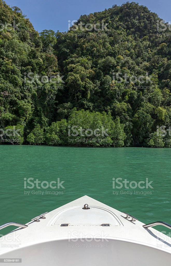 Prow with the beautiful view of sea and mountain stock photo