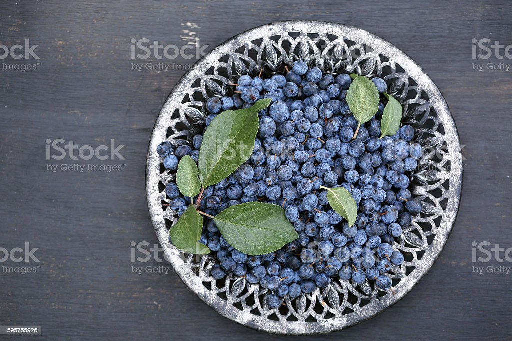 Prunus spinosa on black table, top view stock photo