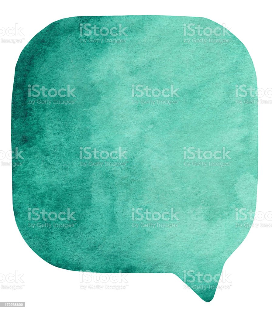 Prussian Green watercolour speech bubble stock photo