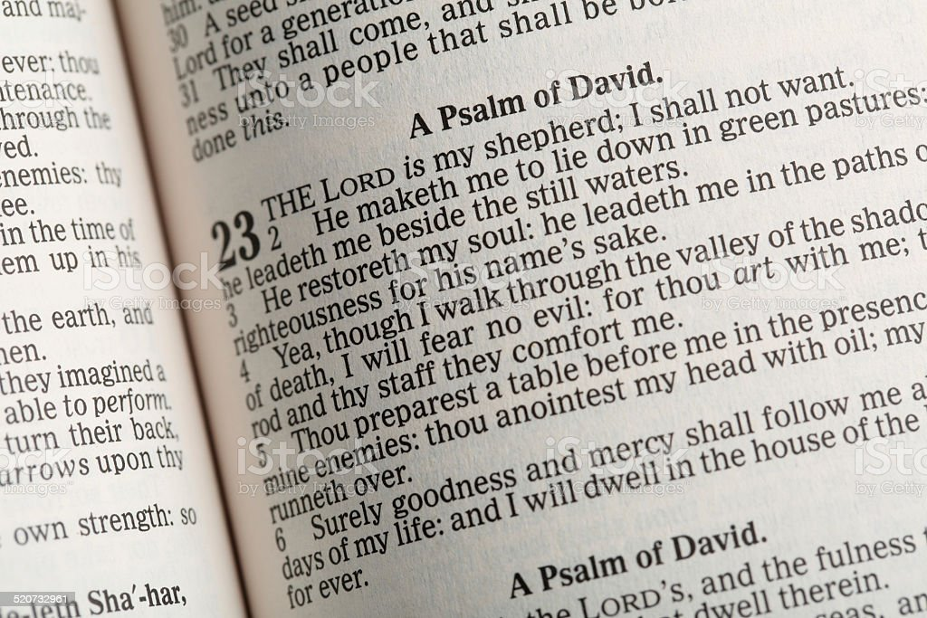 Psalm 23 in the Holy Bible stock photo