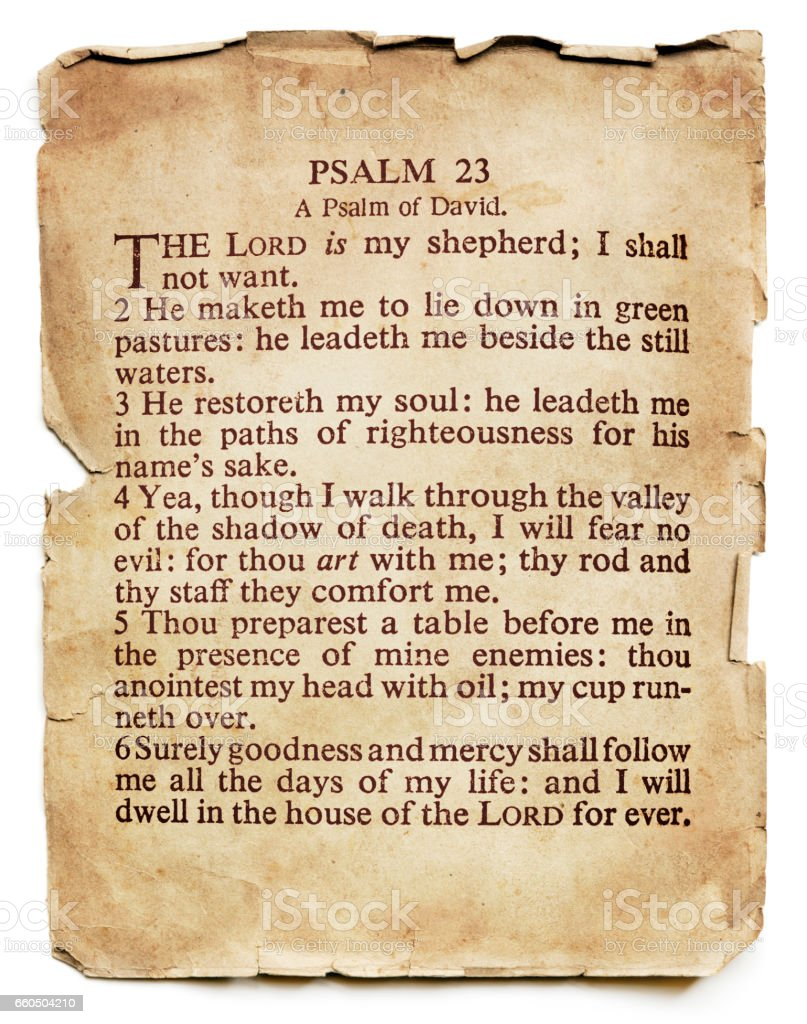 Psalm 23 on Old Paper Isolated stock photo
