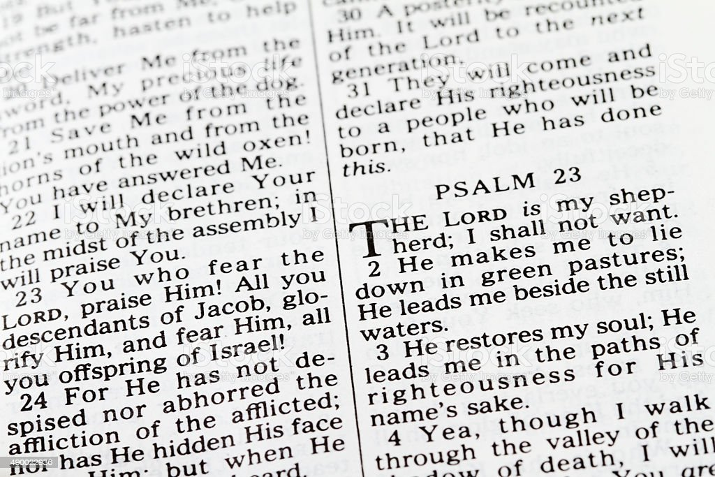 Psalm 23 text from Old Testament of the Bible stock photo