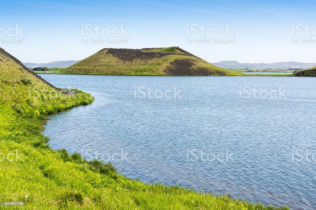 Pseudo craters at Skutustadir surrounding lake Myvatn, Iceland stock photo