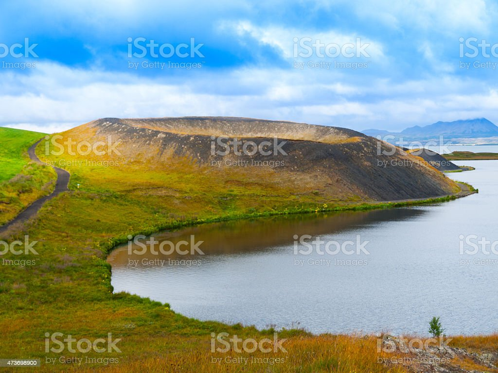 Pseudocrater at Myvatn Lake stock photo