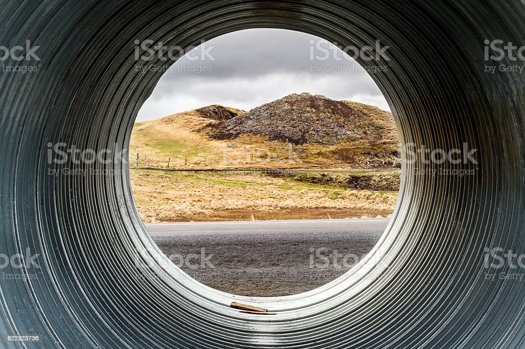 Pseudocrater seen through pipe stock photo