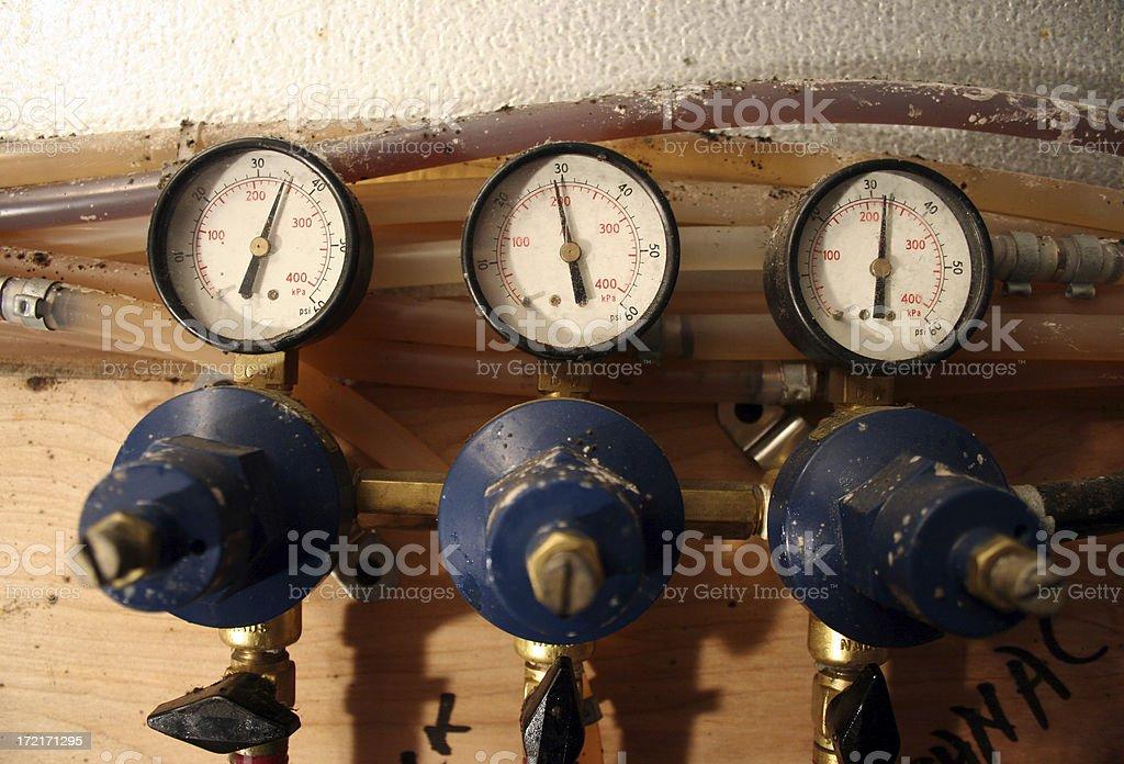 psi gauge beer pumps royalty-free stock photo