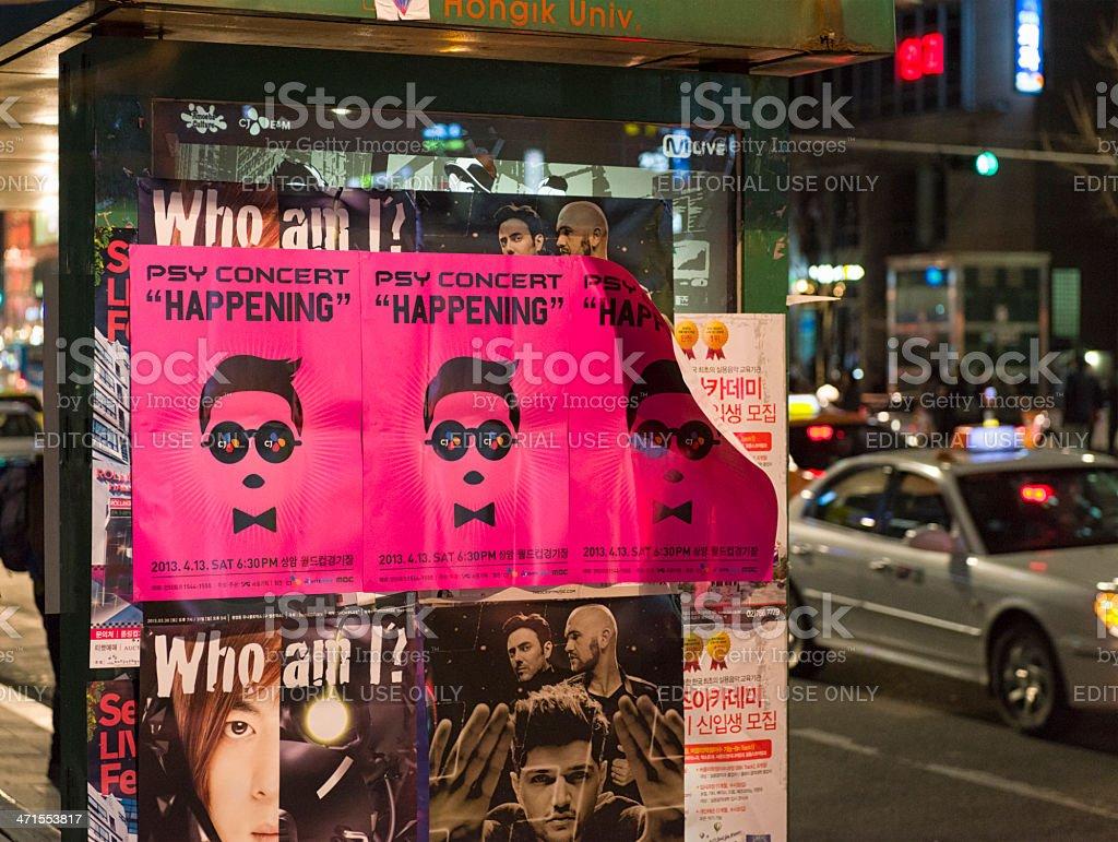 Psy Concert Posters in Hongik, Seoul royalty-free stock photo