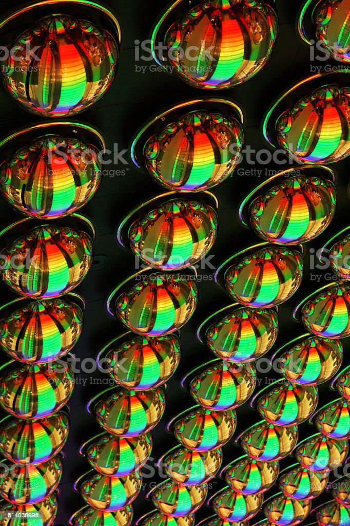 Psychedelic Convex Mirror Ceiling Colorful Eyes stock photo