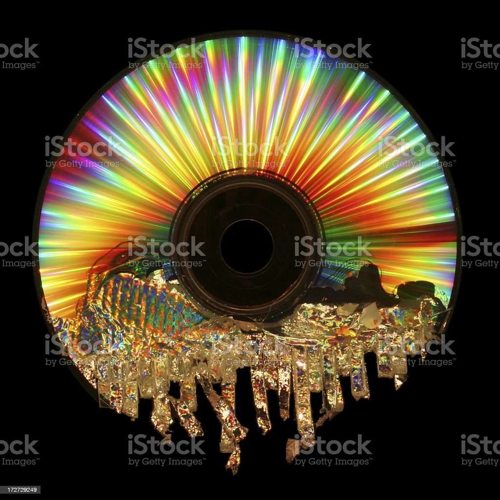 Psychedelic Shredded CD stock photo