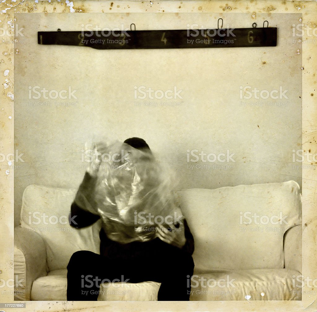 psychic medium with ectoplasm antique photo royalty-free stock photo