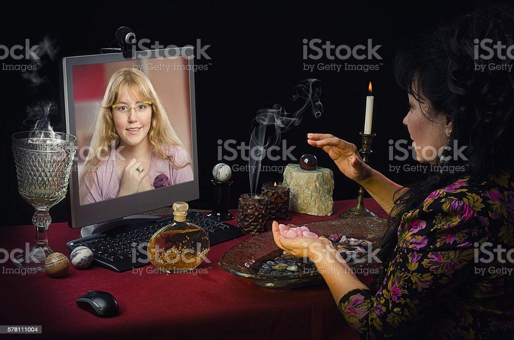 Psychic programming rose quartz for love stock photo