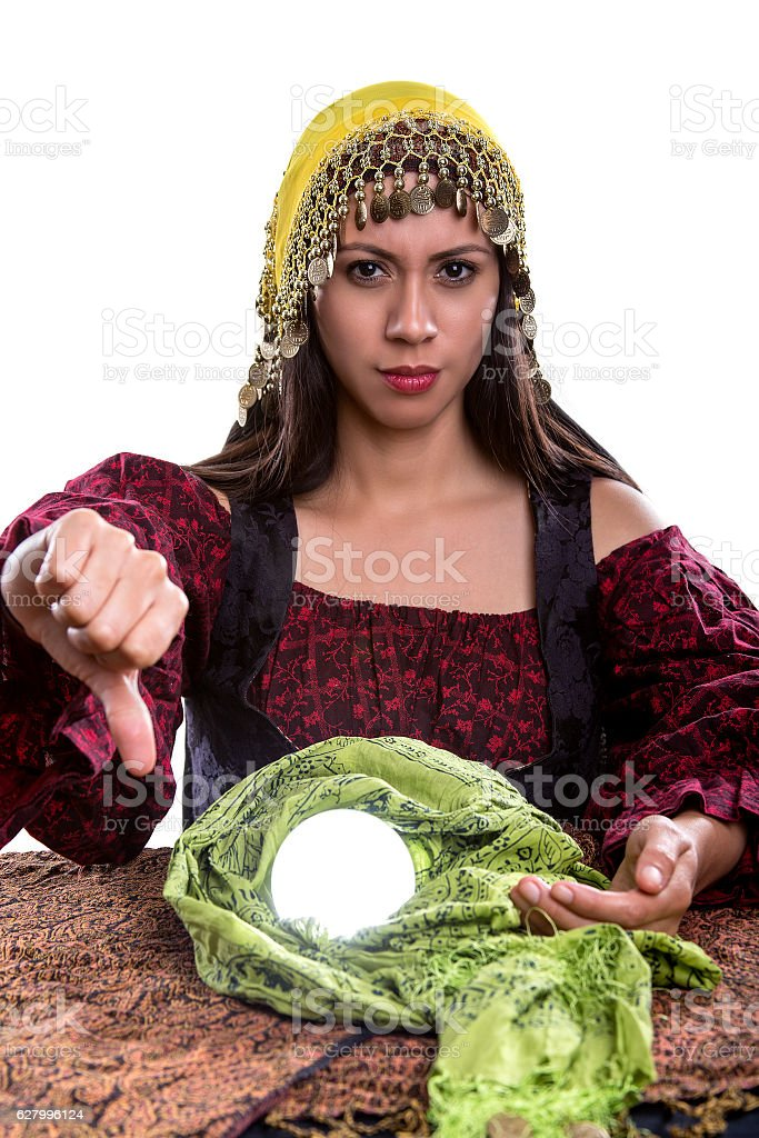 Psychic with Thumbs Down stock photo