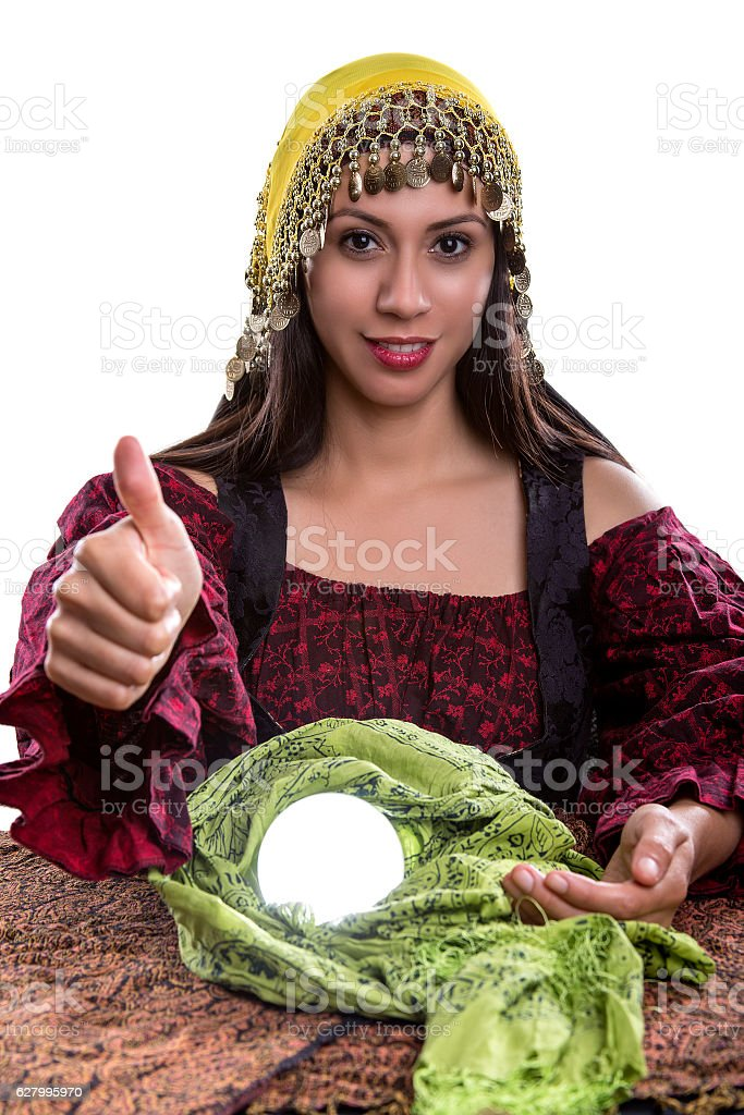 Psychic with Thumbs Up stock photo