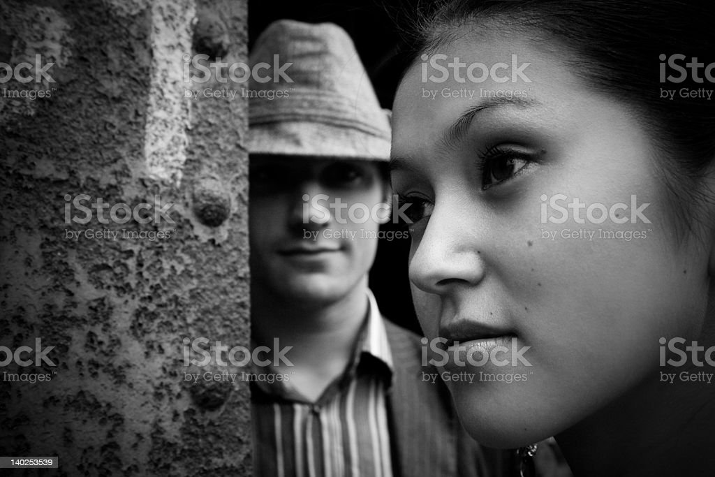 Psycho Stalker And His Prey royalty-free stock photo