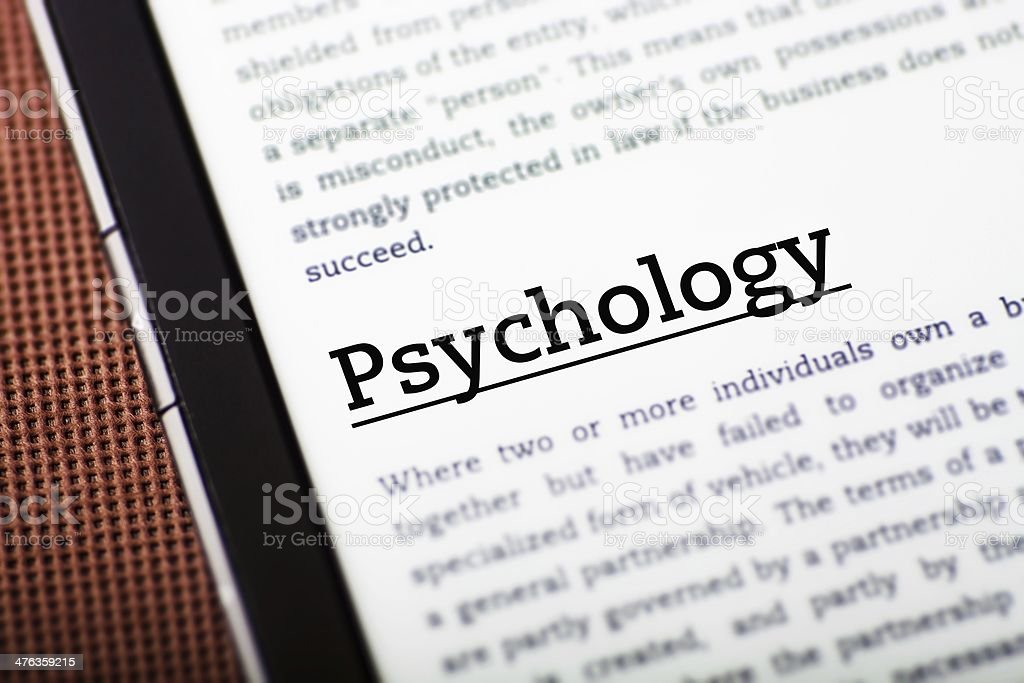Psychology on tablet screen, ebook concept royalty-free stock photo