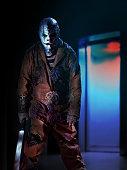 psychopath criminal clown in horror house