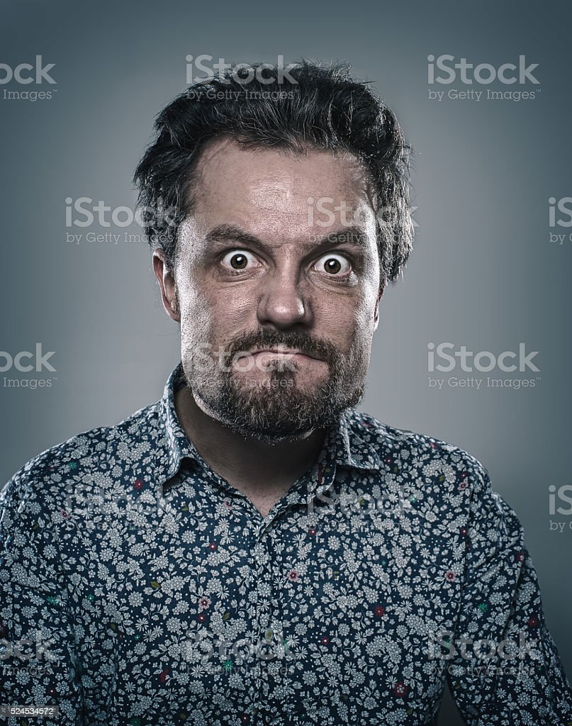 psychopath, psycho, male, bearded, anger, horror, aggression, madness, stock photo