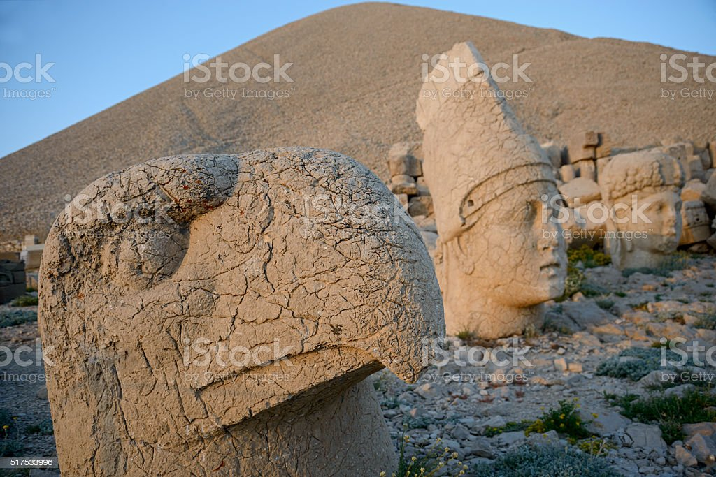 Ptah and other statues on Mount Nemrut stock photo