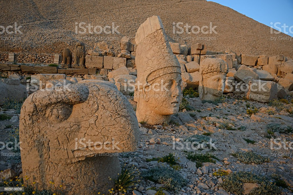 Ptah, Apollo and Tyche statues  in Mount Nemrut stock photo