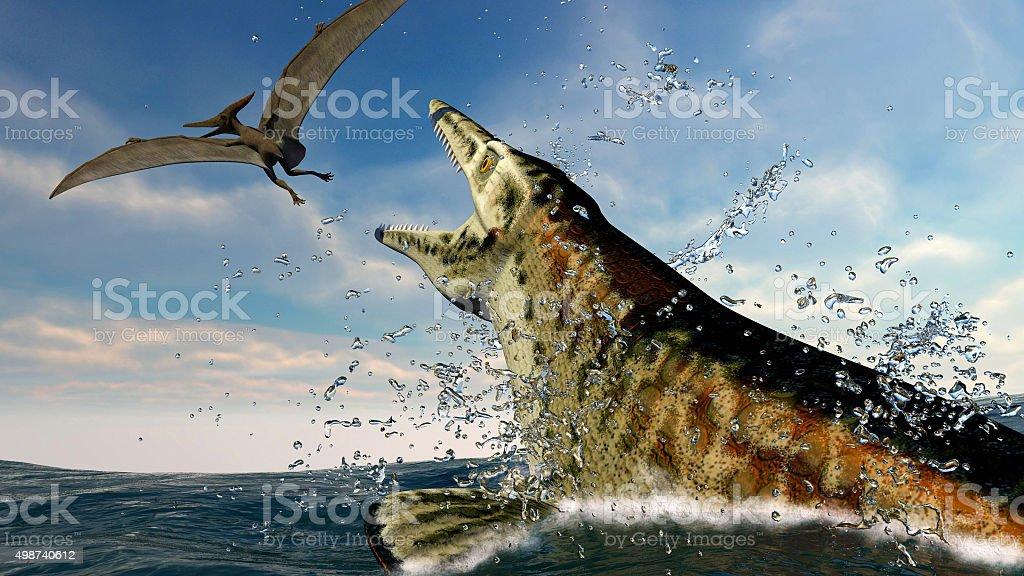 pteranodon and a predatory sea dinosaur stock photo