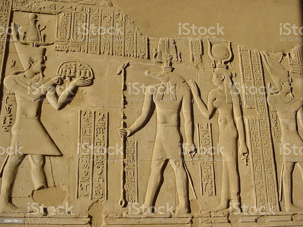 Ptolemaic Bas Relief of Dieties, Egypt stock photo