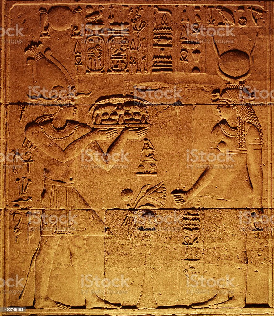 Ptolemy XI Making Offering to Hathor stock photo