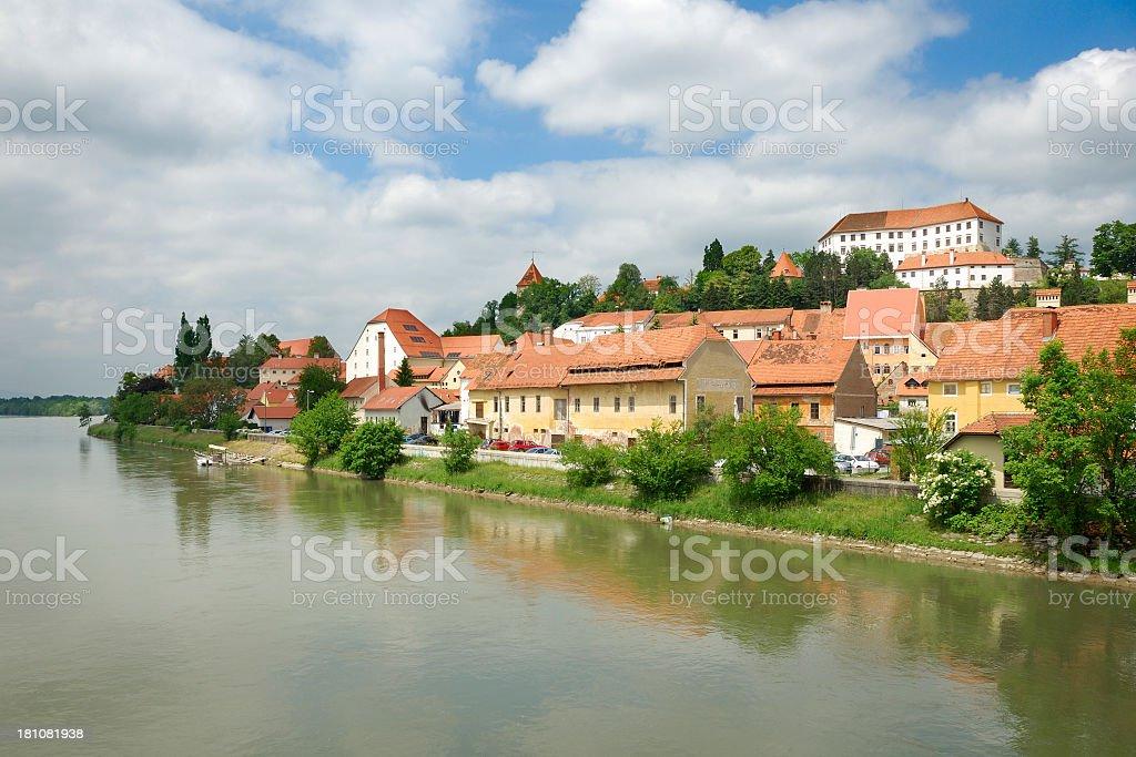 Ptuj and River Drava stock photo