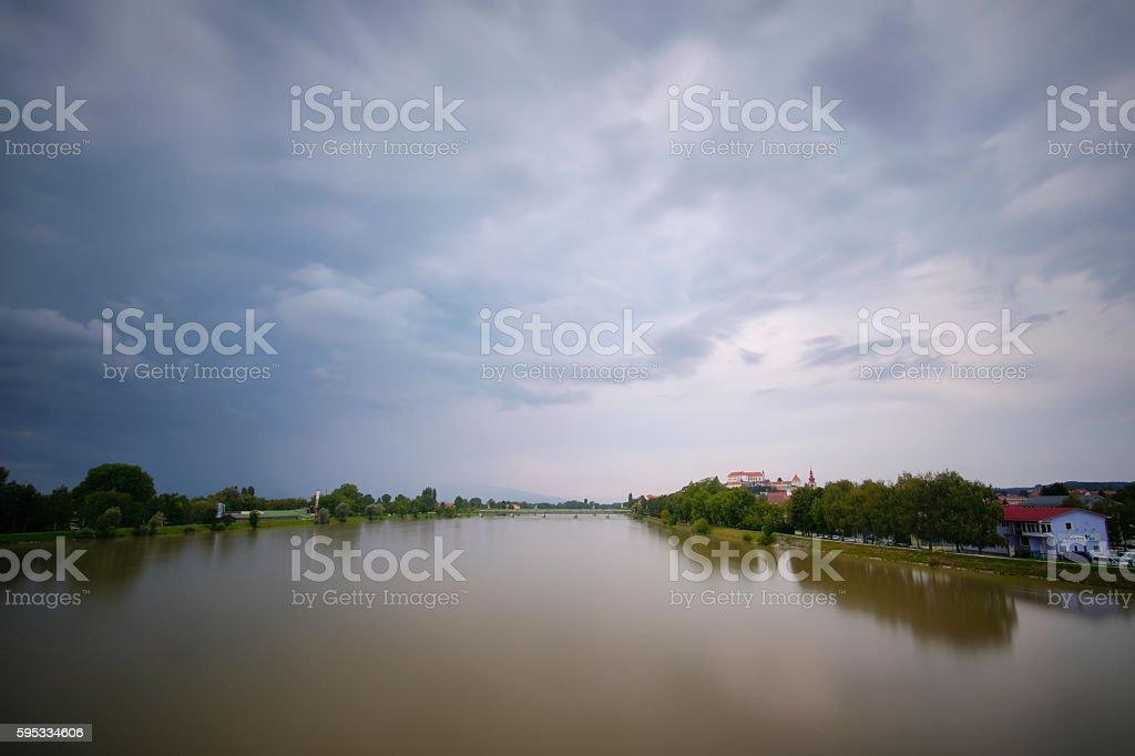 Ptuj from the bridge stock photo