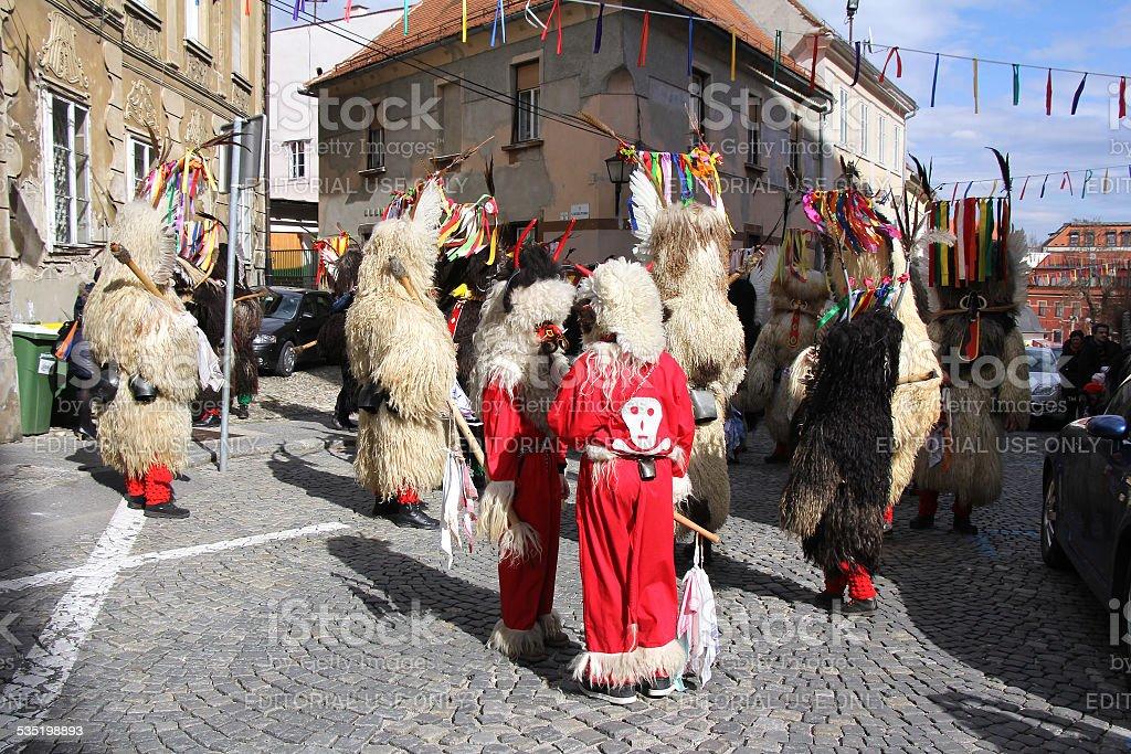 Ptuj kurents carnival mask stock photo