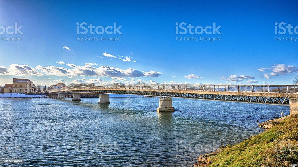 Ptuj pedestrians bridge stock photo