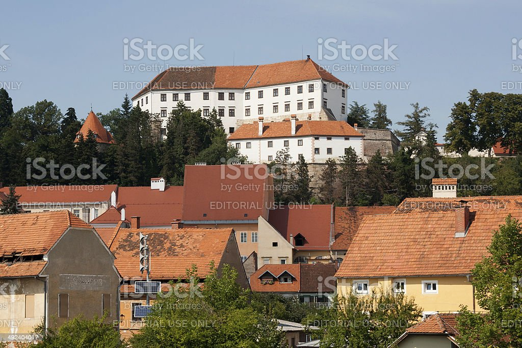 Ptuj - View on the Castle from Drava river stock photo