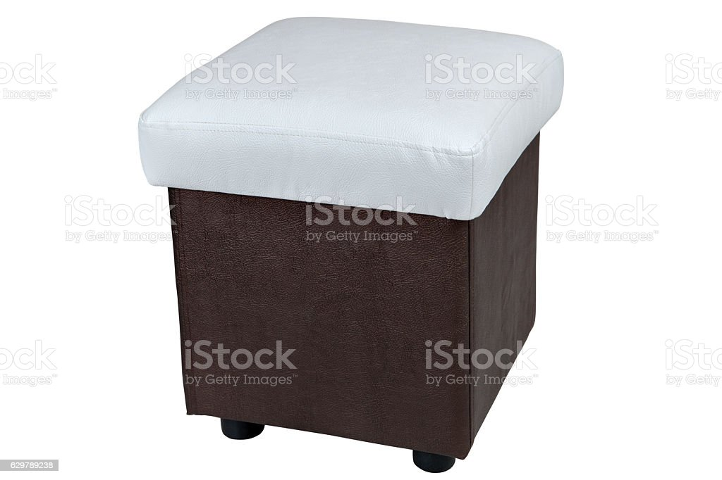 pu leather storage ottoman seat white and dark brown color stock photo