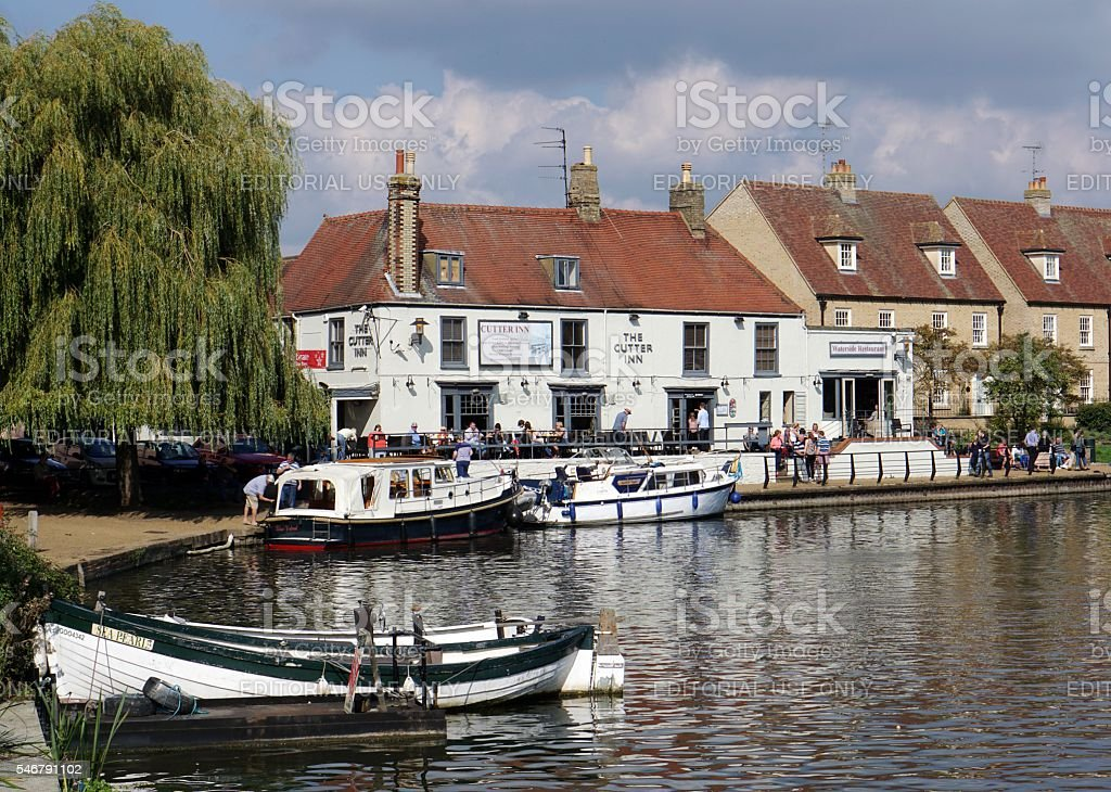 Pub At Side Of River Great Ouse, Ely, Cambridgeshire, England stock photo
