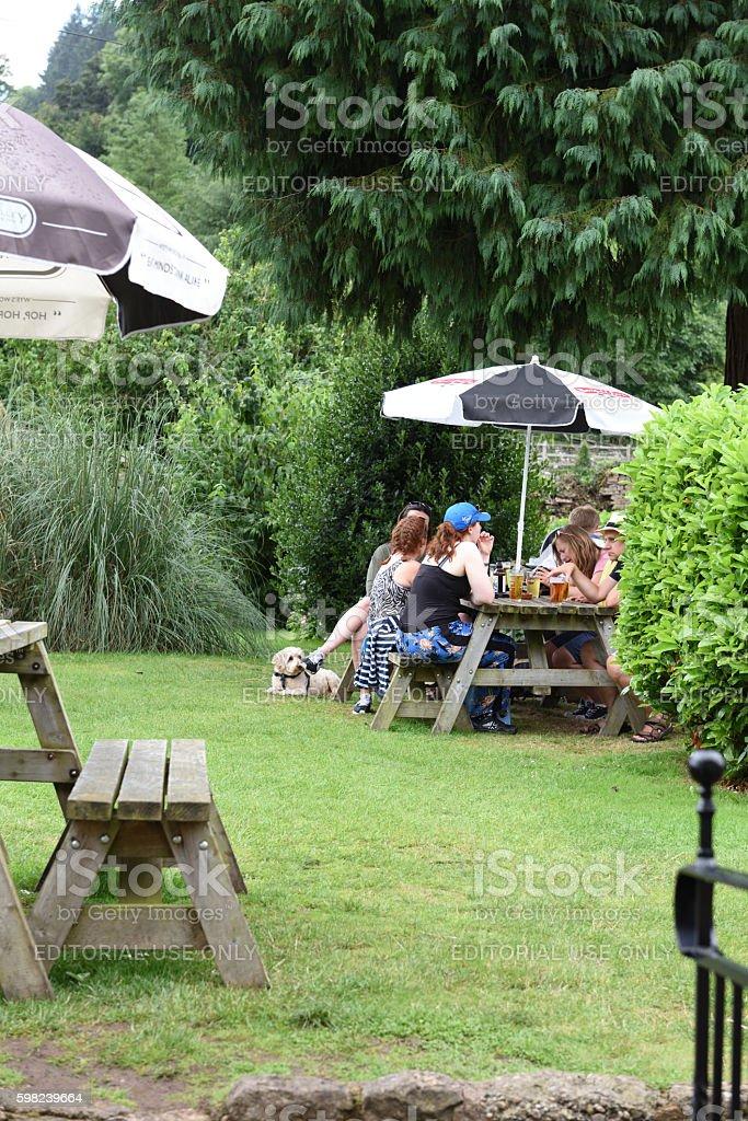 Pub garden stock photo