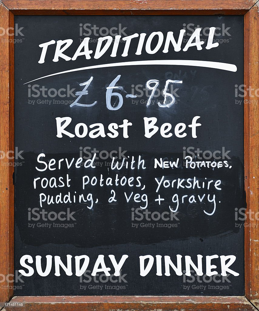 Pub grub sign outide an English public house stock photo