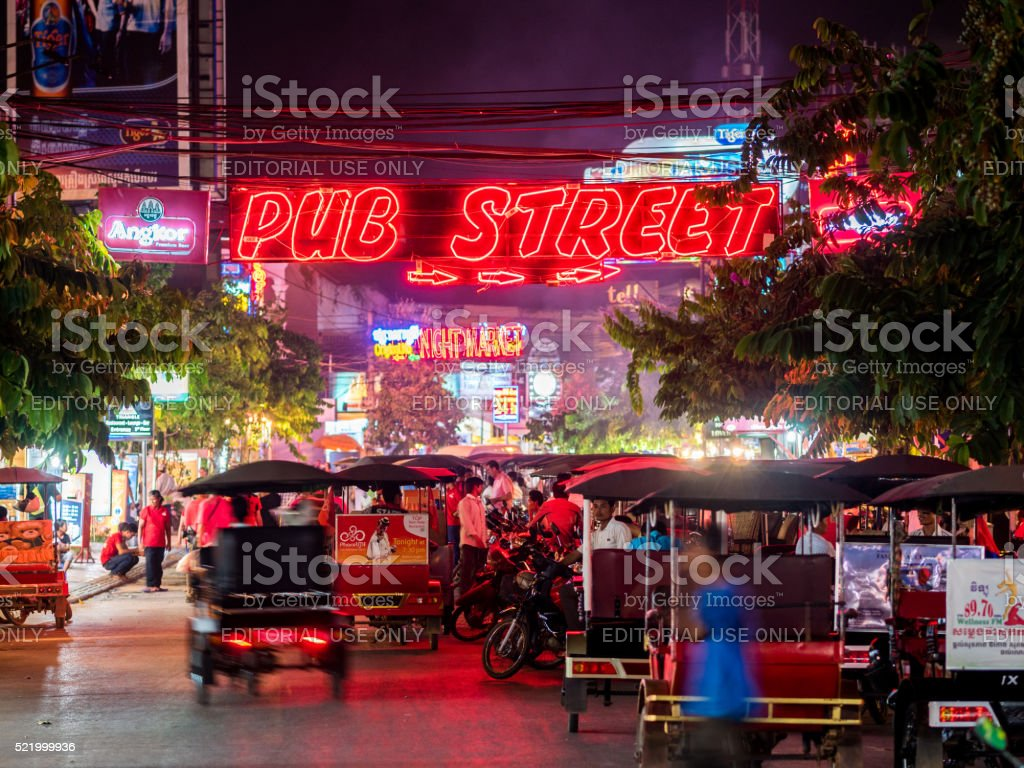 Pub Street in Siem Reap, Cambodia stock photo