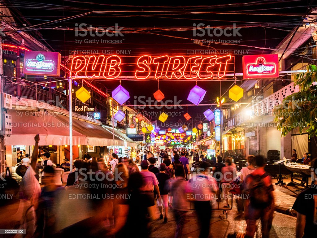 Pub Street in Siem Reap, Cambodia stock photo