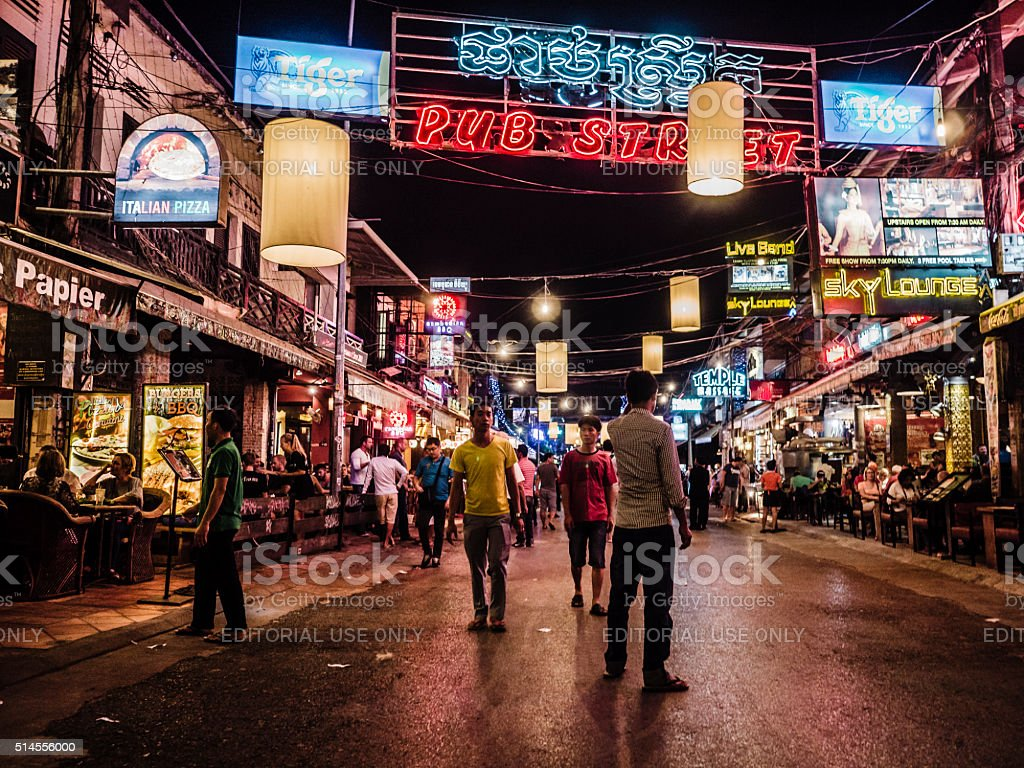 Pub Street Siem Reap Cambodia stock photo