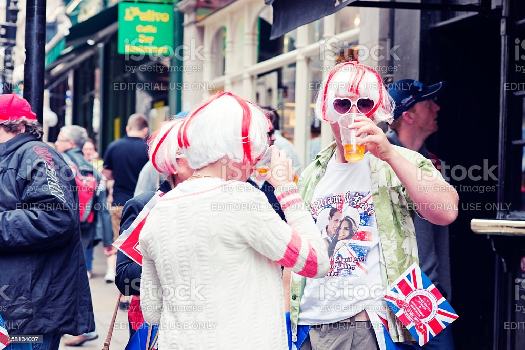 Pubgoers Celebrating Royal Wedding, London stock photo