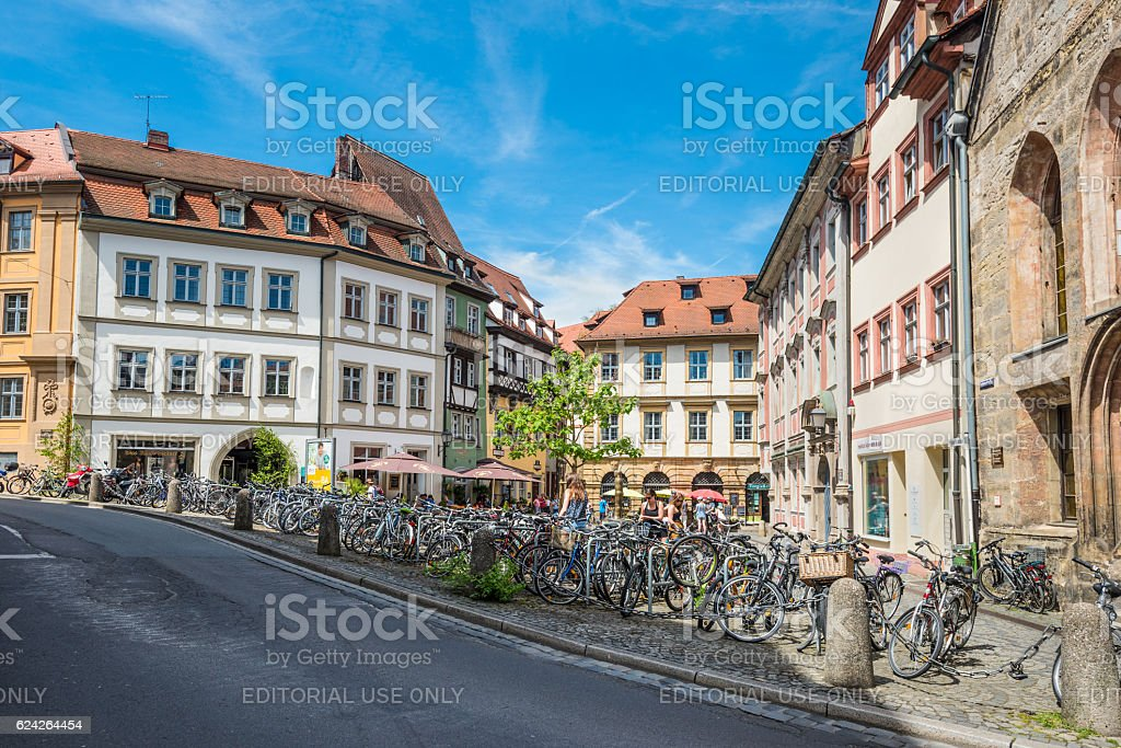 Pubic bicycle parking station with countless bikes at Bamberg, G stock photo